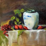 Still Life with Radishes and Grapes, by Ghislaine Gargaro