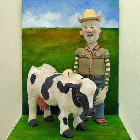 Cowboy with Cow, by Lynne Haggard