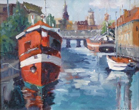 The Red Barge(Copenhagen), by Ghislaine Gargaro