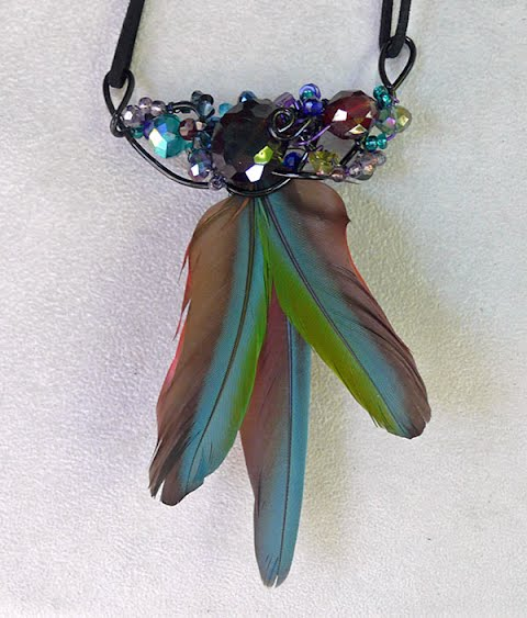 Center Feathers - Necklace, by Sherri Gleason