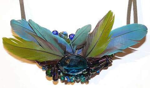 Blue Stones & Feathers - Necklace, by Sherri Gleason