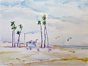 Long Beach - Kite Boards on the Beach, by Annie Clavel